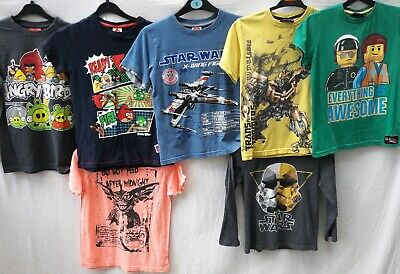 BUNDLE X 7 BOYS AGE 8 YEARS T-SHIRTS VGC ANGRY BIRDS NEXT F&F star wars FREEp&p