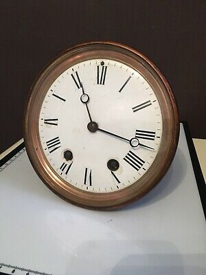 Antique Bell Striking French Clock Movement Enamel Dial Moon Hands Working