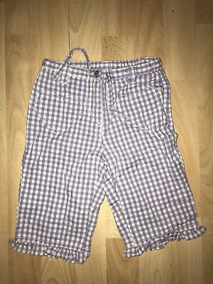 MINI BODEN Girls 3-4-5y Lilac White Gingham Cotton Cropped Trousers SUMMER