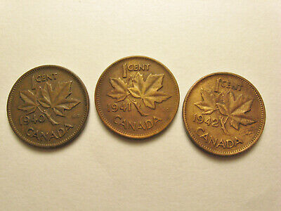 Lot of 3 Canada 1 cent Copper Penny.....1940, 1941, 1942