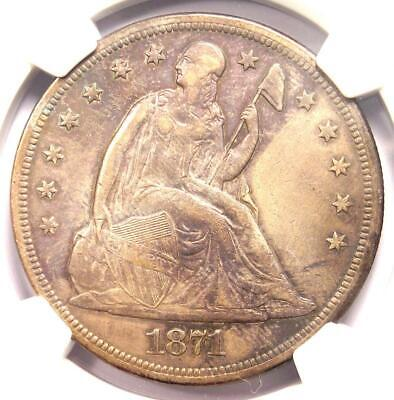 1871 Seated Liberty Silver Dollar $1 - NGC XF Details - Rare Certified Coin!