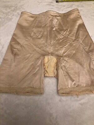 Slimlook By Smoothie Vintage Girdle Large  Beige  #3503 Firm Control Shiny