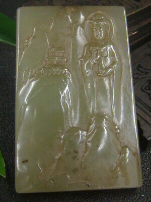 Antique Chinese Nephrite Celadon-Hetian-OLD-Jade KUANYIN Statue/Pendant