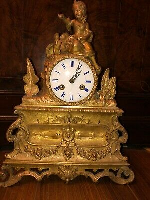 Antique Vincenti & Cie (gilded bronze?) French Figural Mantel Clock