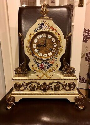 Amazing Large antique Rare F.H.S Brass And Wood Mantel Clock