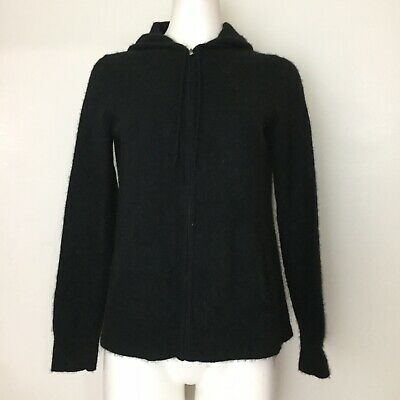 Ann Taylor Womens Cardigan L 100% Cashmere Solid Black Long Sleeve Knit Top