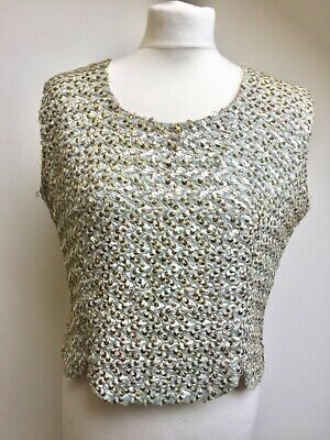 50/60s Bellino sequin top Scalloped edge Size 38 Mint green Not perfect