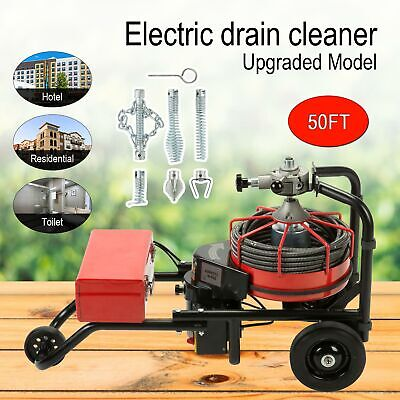 50FT*1/2'' Drain Auger Pipe Cleaner Cleaning Machine Easy W/foot Switch Powerful