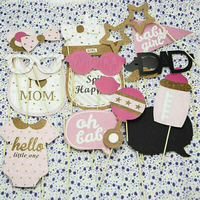 20PCS Baby Shower Girl Photo Booth Props Selfie Newnorn Party Game Decoration UK
