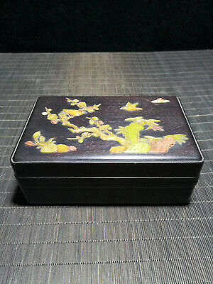 Chinese Qing Dynasty old antique Black inlaid shells wood box Jewelry box EVO