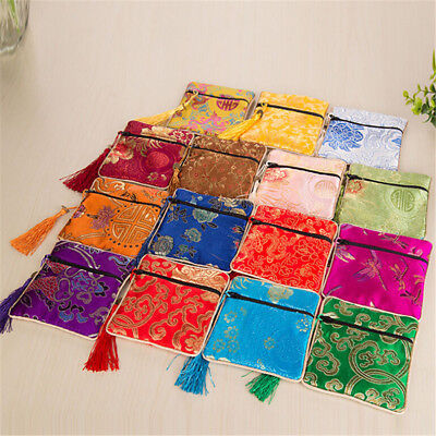 1x Silk Jewelry Chinese Style Coin Tassel Zipper Pouch Bags Wedding Party GiBDA