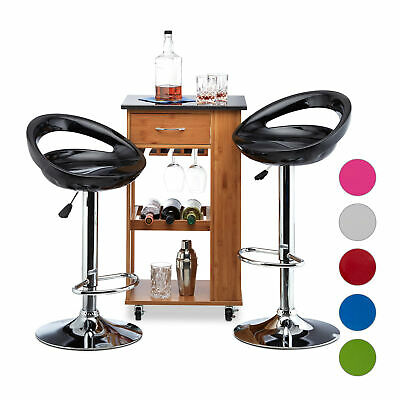 Adjustable Bar Stool Set of 2, Counter Stools, Swivel Bistro Chair with Backrest