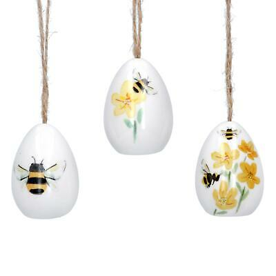 Set of 3 Buttercup Bee Ceramic Easter Egg Hanging Decorations By Gisela Graham