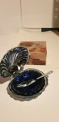 Vintage Shell Butter Dish With Blue Glass Liner And Original Box