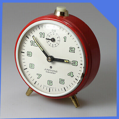 old JUNGHANS Germany Metal Brass White Red Gold Mechanical Wind up Alarm Clock