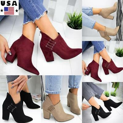 ⭐Women Block Mid Heel Ankle Boots Ladies Casual Zip Up Booties Chunky Shoes Size