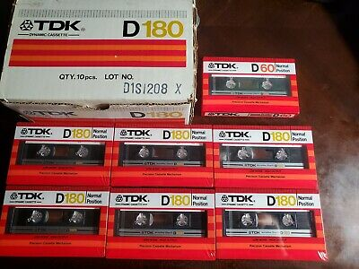 NEW SEALED Lot Of 6 TDK D180 blank Cassette Tapes With Box