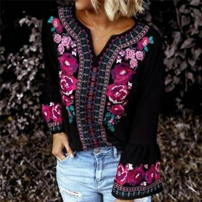 Ethnic Long Sleeve Women Blouse Ladies Printed Tops Summer Fashion T