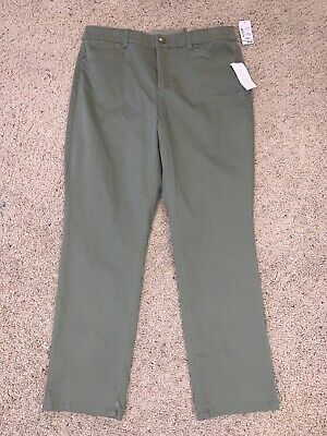 NWT Women's Christopher & Banks Green Casual Pants Size 12S Short Slimming