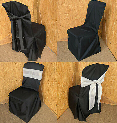 New Black Cotton Banquet Chair Removable Slip Covers & Bows Restaurant Wedding