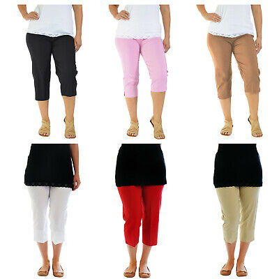 Ladies Bengaline 3/4 Three Quarter Trousers Stretch Elasticated Waist Crop Pants