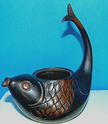 Antique Vintage Chinese Japanese BRONZE Small Koi Fish Tea Incense Pot
