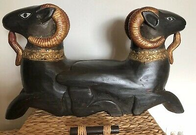 VTG EGYPTIAN AMUN -RA Two Headed Ram Wood Hand Carved Sculpture FAB & RARE WOW!