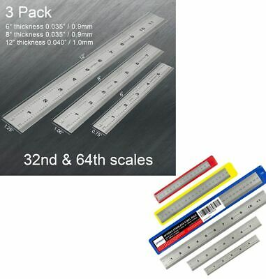 Machinist Ruler Set (6, 8, 12 inch) Rigid Stainless Steel Ruler with Inches