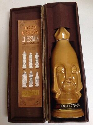 Vintage 1960'S Chess Piece Old Crow Light Pawn Chessmen Decanter