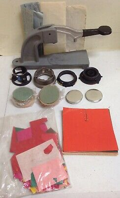 "Button Making Machine Bench Top Events Pins 2-1/4"" W/ Accessories"