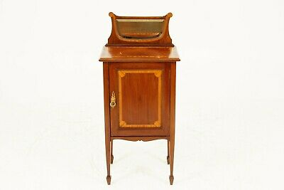 Antique Edwardian Mirror Back Inlaid Nightstand, Bedside, Lamp Table 1900, B1735