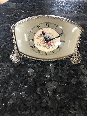 Vintage Mantle / Shelf Clock . Embroidery Flowers Made In England GWO. C:-1940s