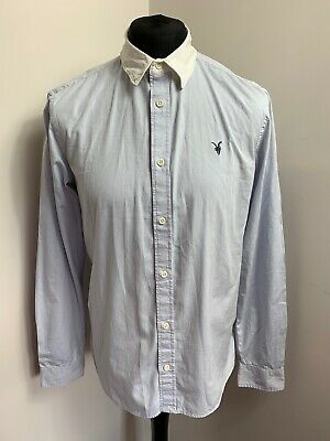 ALL SAINTS Danzig Slim Fit Shirt Size Large Mens In Grey & White Long Sleeve