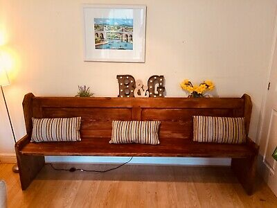 Antique church pew bench Victorian pine vintage rustic shabby chic