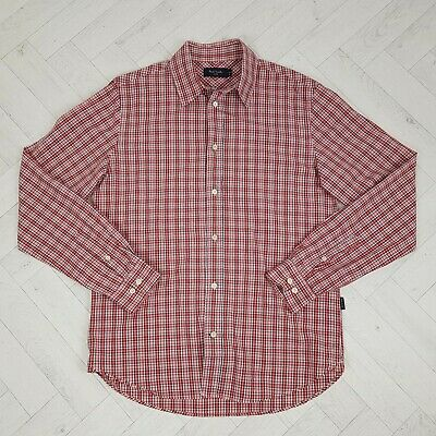 Paul Smith Jeans Red Pink Check Long Sleeve Cotton Shirt Size M