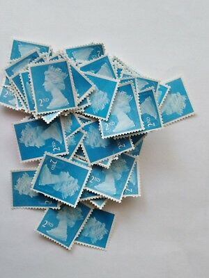 100 x 2nd CLASS SECURITY UNFRANKED STAMPS OFF PAPER NO Gum LOT 1