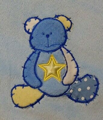 Small Wonders Baby Blanket Satin Teddy Bear Star Blue