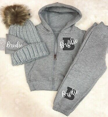 Baby/kids/toddler tracksuit with hat any name personalised Grey Boy Girl