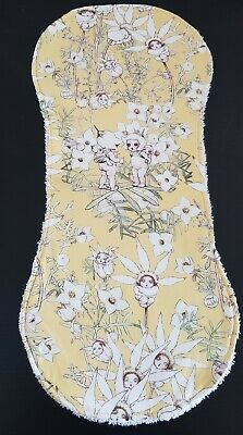Burp Cloth. Gorgeous May Gibbs Flannel Flowers Design on Yellow . Cotton. Shape.