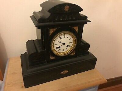 antique slate gilt large mantle clock working
