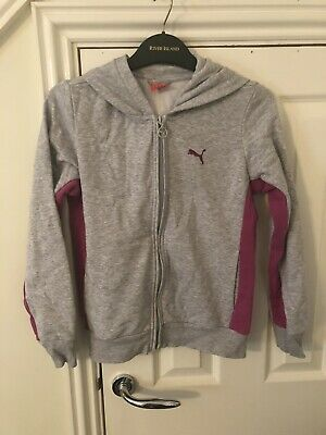 Ladies Girls Puma Grey Purple Zip Up Tracksuit Top 30-32 Inches
