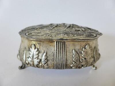 Vintage Silver Plated Jewelry Box, Metal Footed Trinket Box, 1950's Ring Box