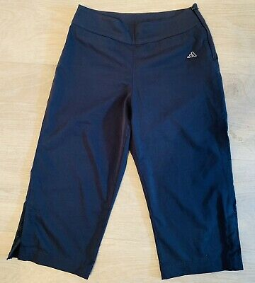 Ladies ADIDAS Navy Cropped Gym Sports Active Trousers 3/4 Size 10 W28, Golf ?