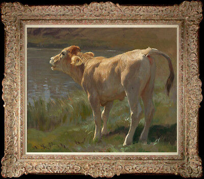 """Hand-painted Original Oil painting art impression Animal Cow On Canvas 20""""x24"""""""