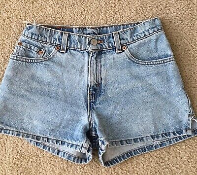 Vtg 90s Levis Distressed Denim Shorts Small Side Slits