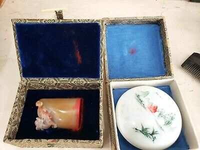 Chinese CARVED Stone Marble Seal Name Dragon Stamp GENE w/ Ink Pot and BOX