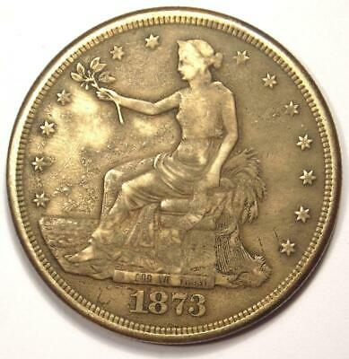 1873-CC Trade Silver Dollar T$1 Carson City Coin. VF Detail (Corrosion, Cleaned)