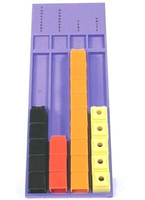 Unifix Cubes Blocks x50 & Place Value Board Maths Student Learning Resources