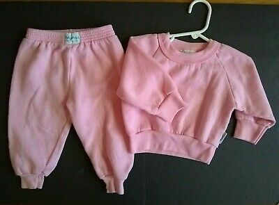 vtg Fisher Price Raglan Sweatsuit sweatshirt  & sweatpants Pink 2T Toddler Baby