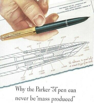 Can Never Be Mass Produced Vintage Print Ad 1946 Parker 51 Pen